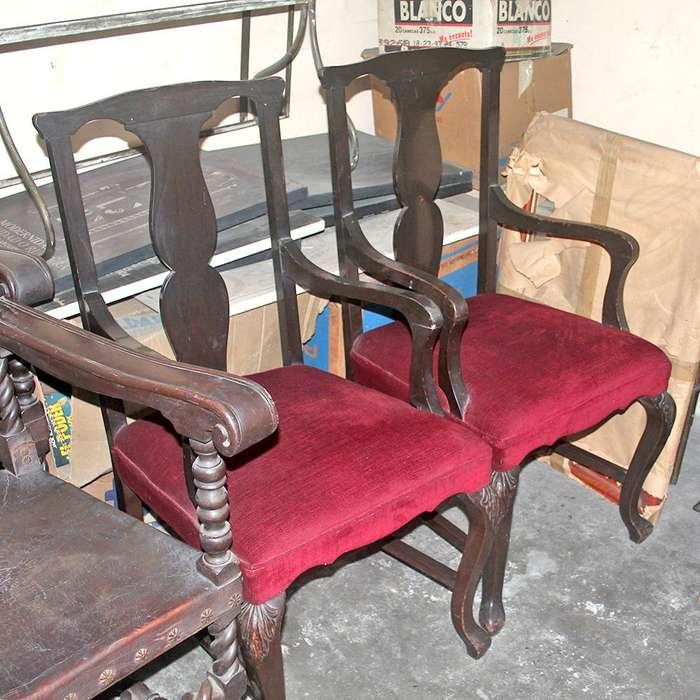 <strong>silla</strong> Antigua en Madera Base en Espuma y Tela Valor Unitario