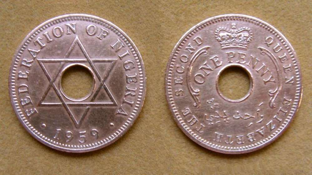 Moneda de 1 penique Nigeria 1959