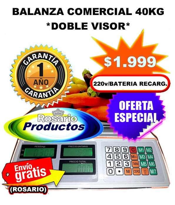 Balanza Digital 40 Kg Sin Torre D/Visor a Batería GARANTÍA 1 AÑO