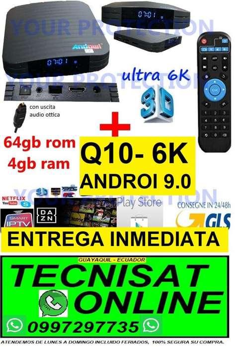 TV BOX ANDOWL Q10 - 6K, 4GB RAM 64GB ROM, ANDROI 9.0 CON MARCADOR HORA TVBOX
