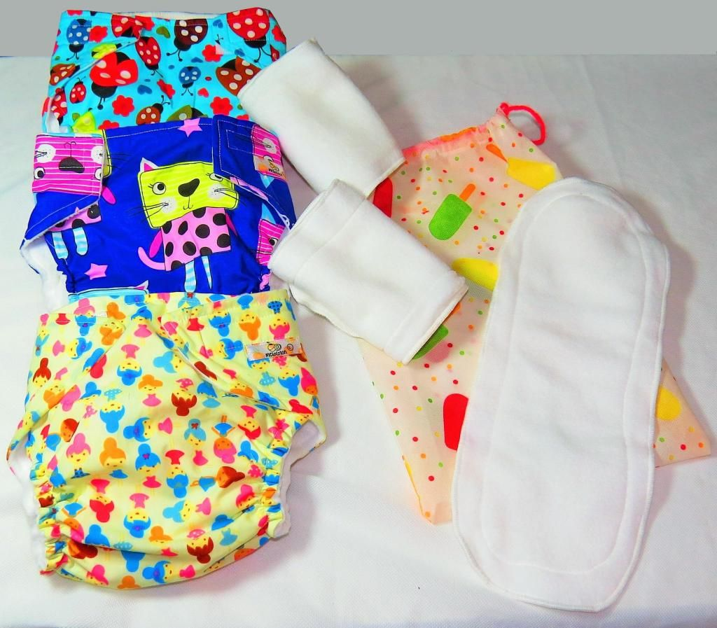 3 Pañales Ecológicos Reutilizables 6 absorbentes, envio gratis Cali