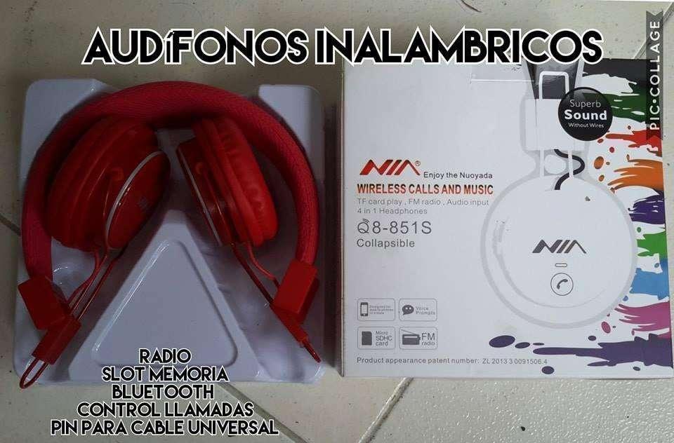 NUEVOS audifonos bluetooht rojo memoria radio pin universal solo venta