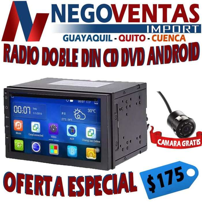 RADIO PARA CARRO DOBLE DIN ANDROID USB SD AUX CD DVD BT FM PANATALLA FULL TOUCH GRATIS <strong>camara</strong> DE RETRO