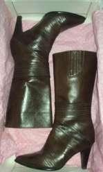 Botas de cuero Della Signoria caña media t36 marron chocolate