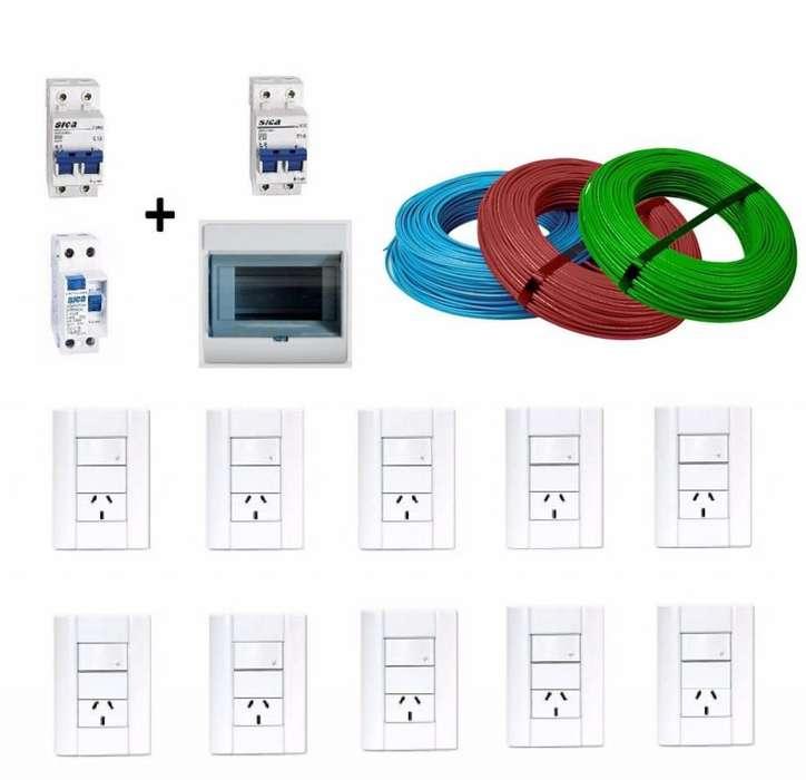 300Mt Cables 2,5mm / 2 Termicas / 1 Disyuntor / 1Tablero / 10 Tapa Jeluz / Envios La Plata