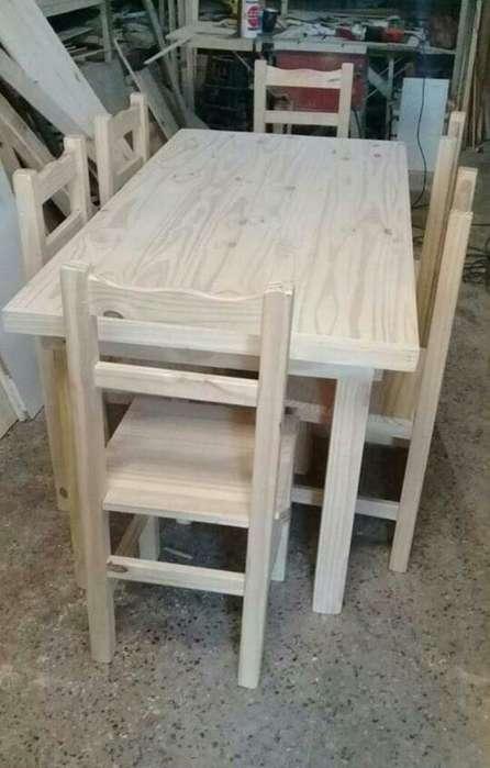 Mesa 1.20 con 6 <strong>silla</strong>s en Madera de Pino