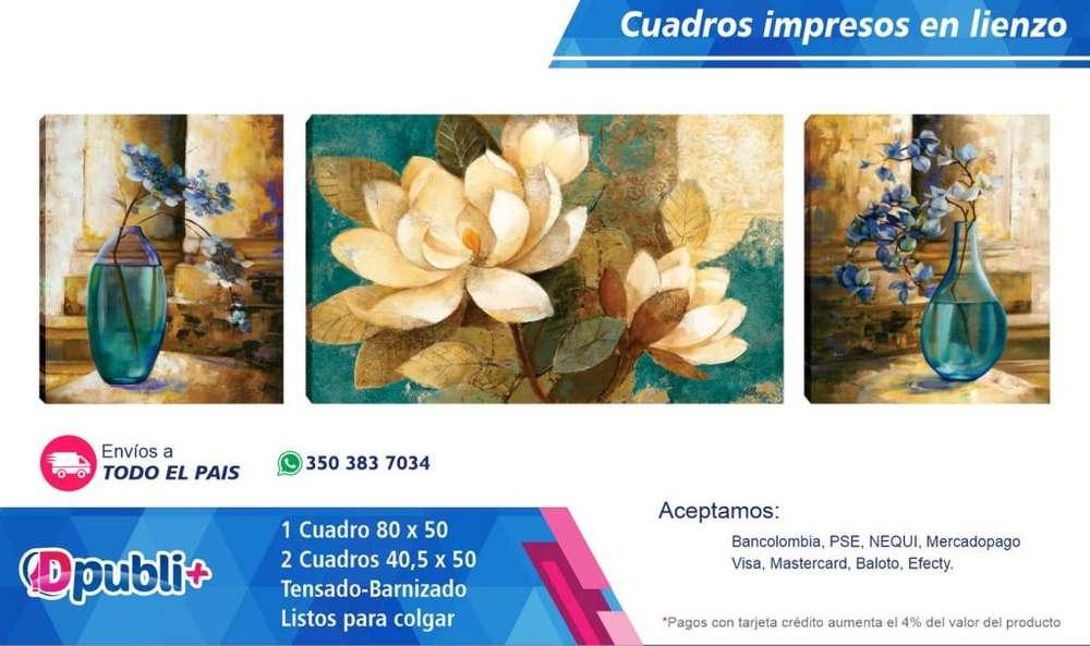 Cuadro Decorativo Lienzo Impreso PERSONALIZABLE <strong>jarron</strong>es Florales 180.000 PUBLICIDAD VOLANTES TARJETAS