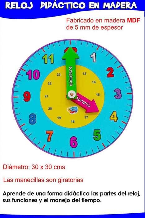 Reloj Didáctico en madera y foamy