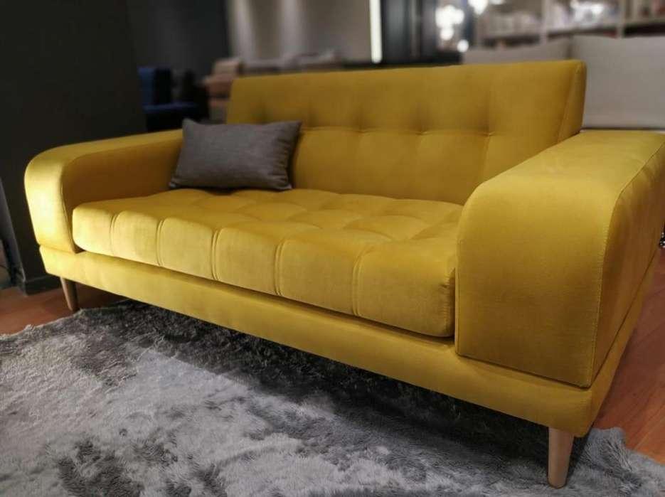 Sillon Sofa Dos Cuerpos Pana Amarilla 180m
