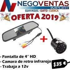 PANTALLA RETROVISOR 4.5 PULGADAS ESPEJO CAMARA DE RETRO COMBO IDEAL DE PARQUEO COMPLETO PARA CARRO