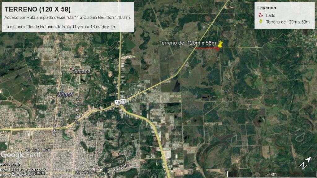 Vendo Terreno en esquina de 58 x120 en ruta enripiada a Colonia Benitez