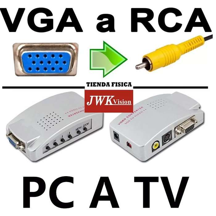 Convertidor Vga A Rca Svideo Conecte Pc Laptop A Tv Jwk