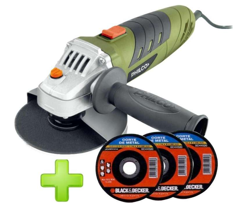 AMOLADORA PHILCO 710 W 115 MM. CON 3 DISCOS BLACK AND DECKER