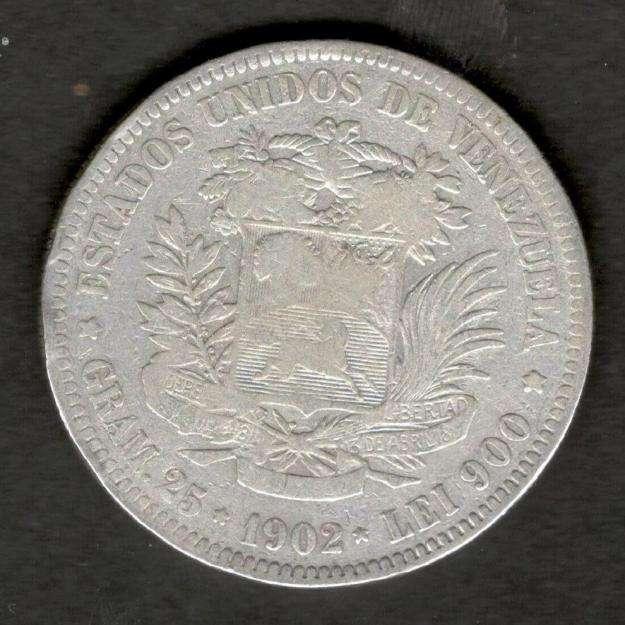 Venezuela 1902 FUERTE 5 Bolivares 90 Silver Coin 25 Grams