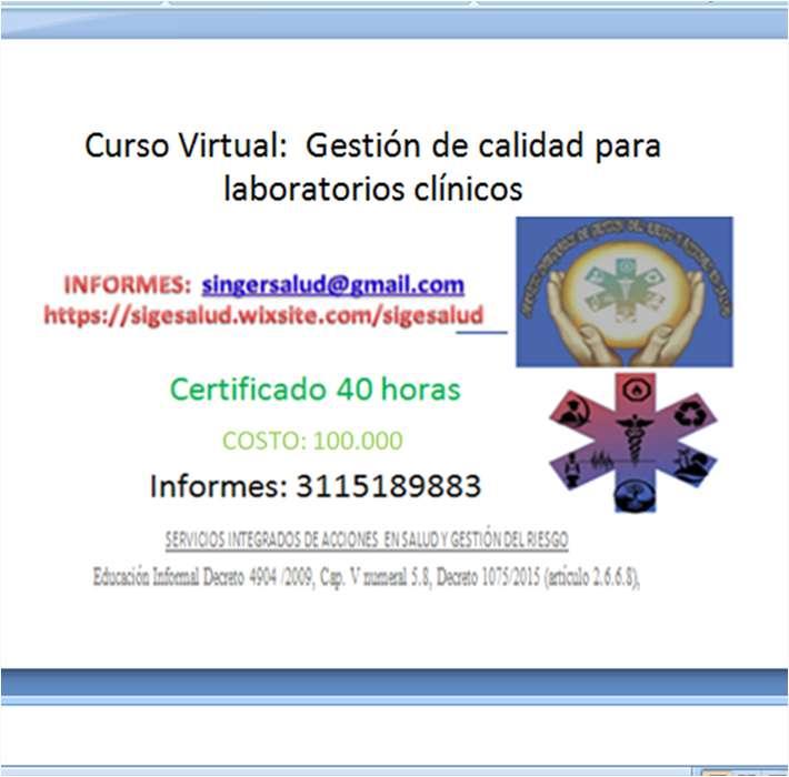 100.000 CURSO VIRTUAL: Gestión de Calidad para laboratorios clínicos