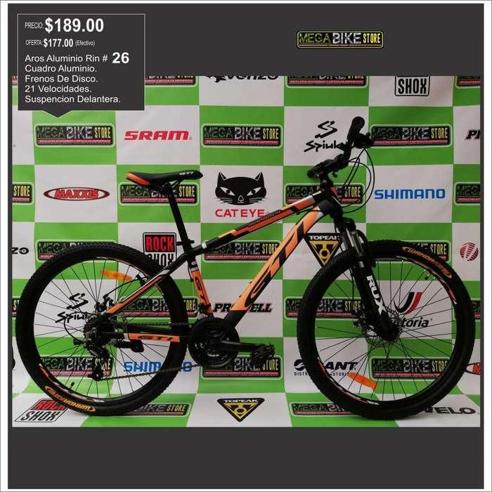 bicicleta GTI madrock montañera aro rin 26 en aluminio con frenos de disco , 21 marchas