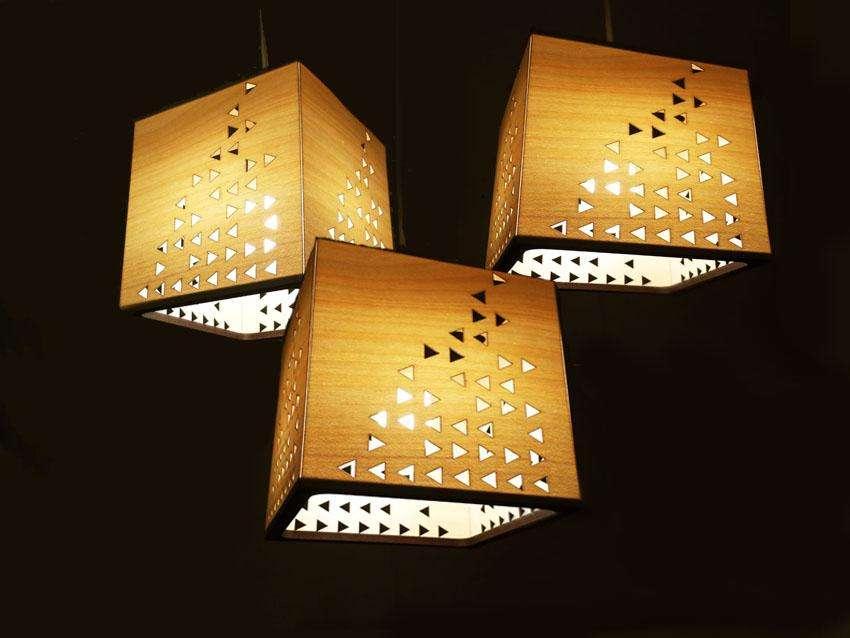 Oferta Juego De 3 Lámparas Colgantes de Techo en Madera JJlamp