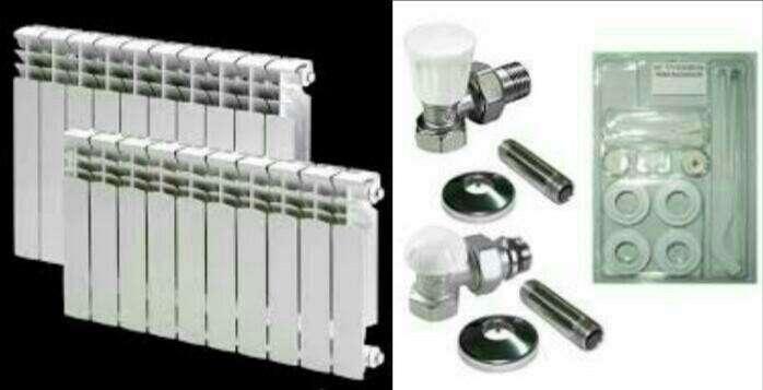 radiador de 10 elementos con kit de instacion