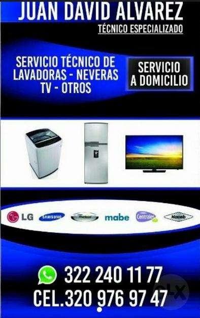Servicio Tecnico Lavadoras, Neveras y Televisores led.