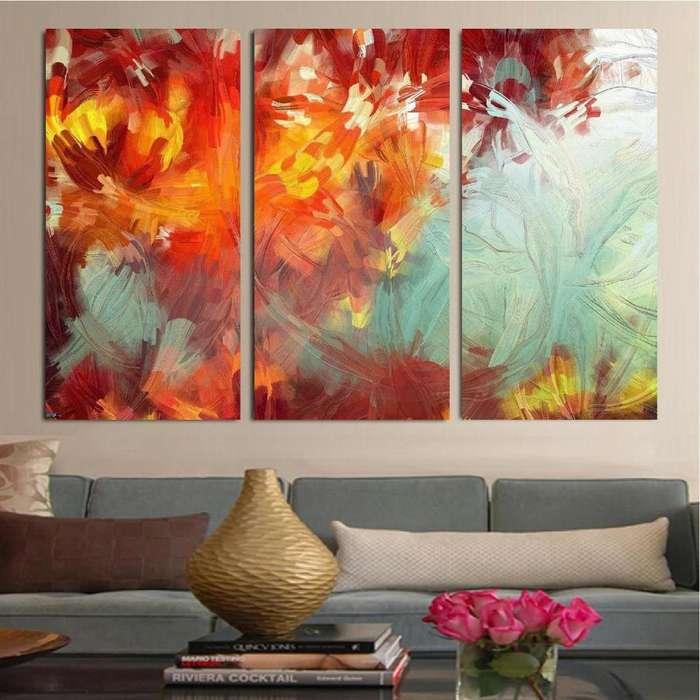 cuadro floral en 3 paneles 9576