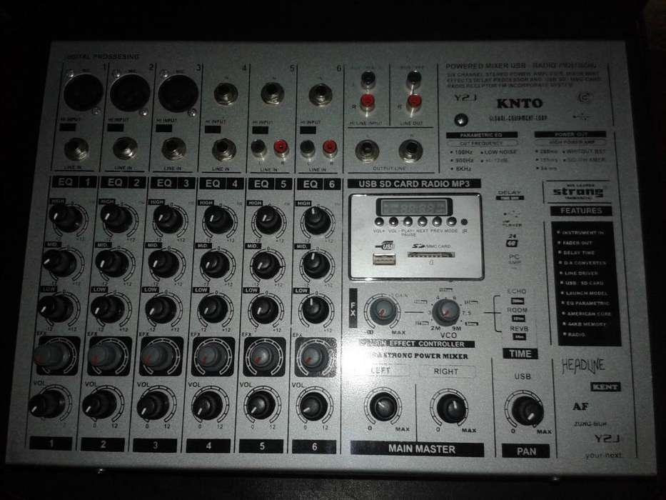 consola mixer 6 canales usb