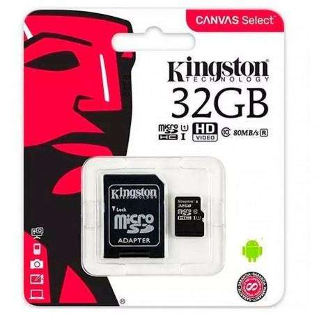 MEMORIA MICRO SD 32GB CLASE 10 CANVAS SELECT 80MB/S KINGSTON