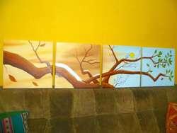 Cuadros decorativos polipticos florales acrilico oleo paisaje arbol las cuatro estaciones