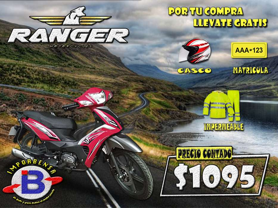 MOTO SANTO DOMINGO//RANGER CABALLITO 125BS-CASCO, MATRICULA E IMPERMEABLE GRATIS//IMPORTADORA BENAVIDES