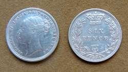 Moneda de 6 peniques de plata Gran Bretaña 1886