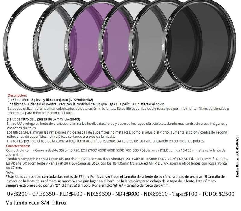 Kit Filtros 67mm Uv Cpl Fld Nd2 Nd4 Nd8 Tapa