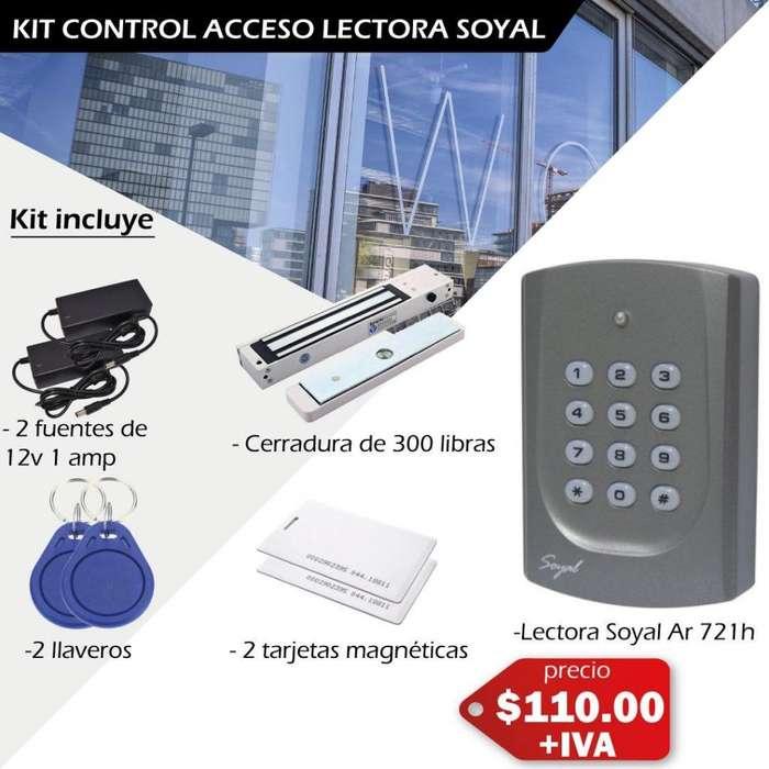 Kit de acceso. Control de Acceso Soyal. 721H. Cerradura electromagnetica. Lectora Soyal. Tarjetas de proximidad