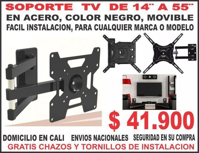 HERRAMIENTA Soporte Tv 14 Hasta 55 50 Kilos DE PESO , ACERO Facil Intalacion color negro