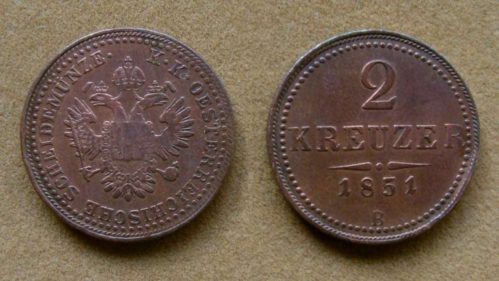 Moneda de 2 kreuzer Imperio Austro-Húngaro 1851