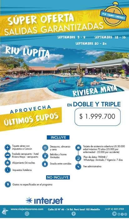 Viaje como un Rey a Rivera Maya H. RIU LUPITA con Viajes la Corona