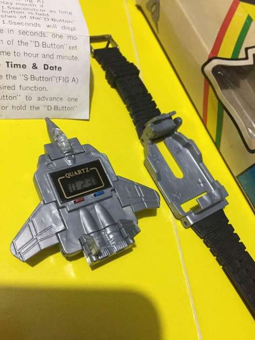 Antiguo Reloj Avion Transformers Plastico Fighter Watch Retro 1984 Gris Usado