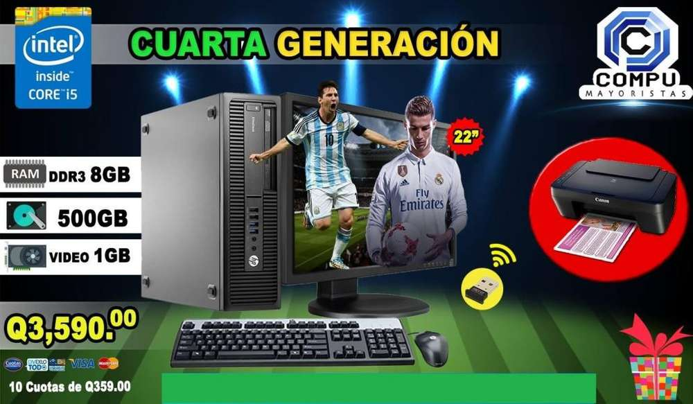 COMPUTADORA HP ELITEDESK INTEL CORE I5 4TH 8GB RAM 500GB HD TARJETA DE VIDEO 1GB INCLUYE IMPRESORA CANON
