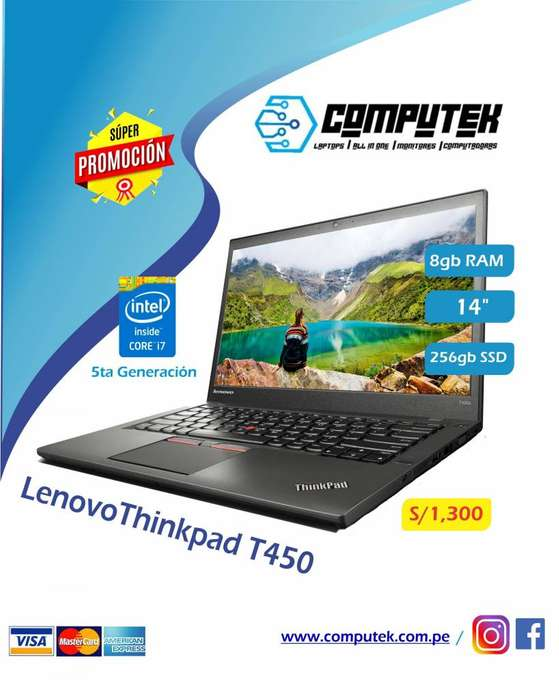 LENOVO T450 THINKPAD - REFURBISHED- Core i7 5Gen, Ram 8Gb, SSD 256gb, Led 14
