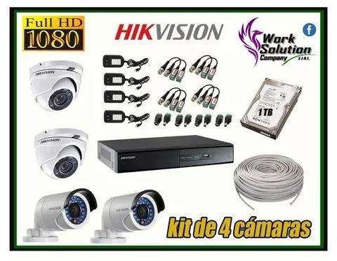 Kit 4 Camaras De Seguridad Hikvision Full Hd 1080p Completo