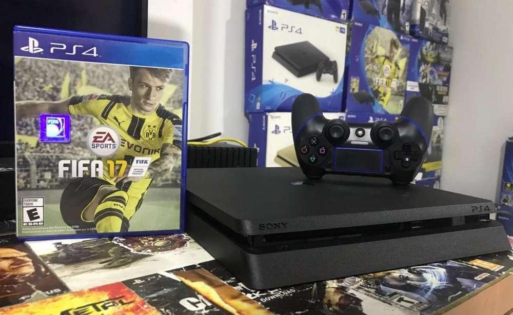 PS4 slim de 500GB, 1 control, 4 juegos, plus y 6 meses de garantía. Recibo Play 3 en parte de pago.