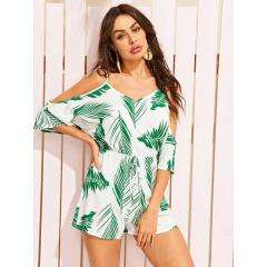 Cold Shoulder Knot Front Tropical Print Romper Talla Medium