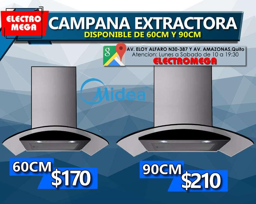 Campanas Extractoras Midea De 60 Y 90 Cm Vidrio Curvo