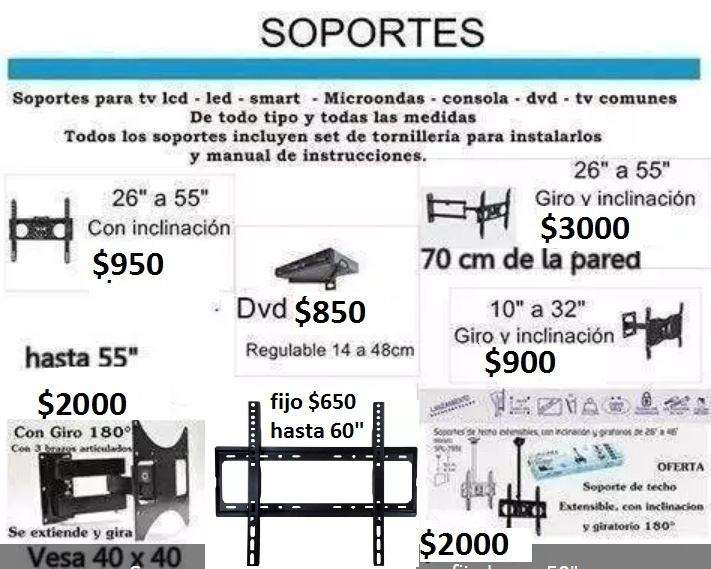 Soportes para tv lcd led smart tv fijo hasta 50