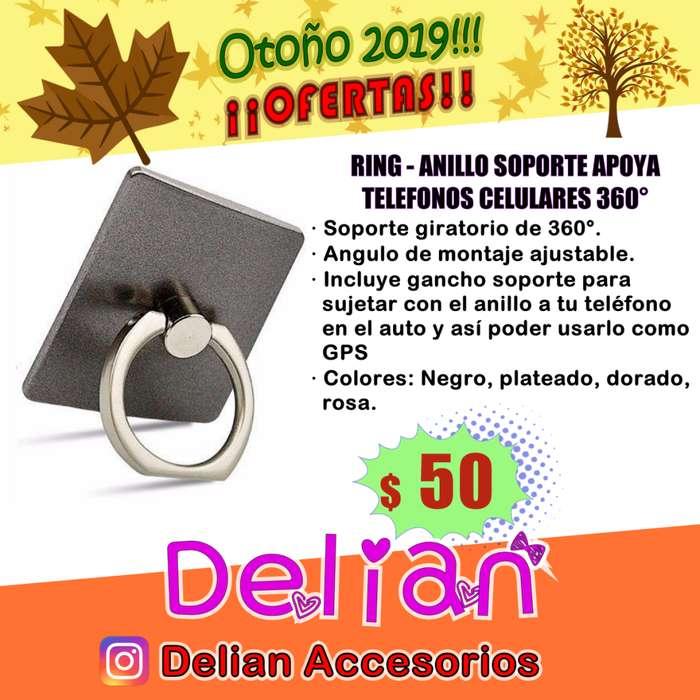 Ring Anillo Soporte apoya telefonos celulares 360 grados con gancho para GPS incluido