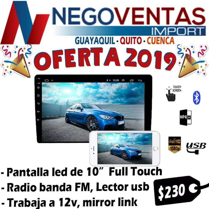 RADIO ANDROID FULL TOUCH DE 10 PULGADAS USB SD AUX BT GOOGLE MAP