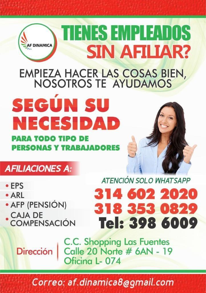Afiliaciones a Eps, Arl, Caja Y Pension