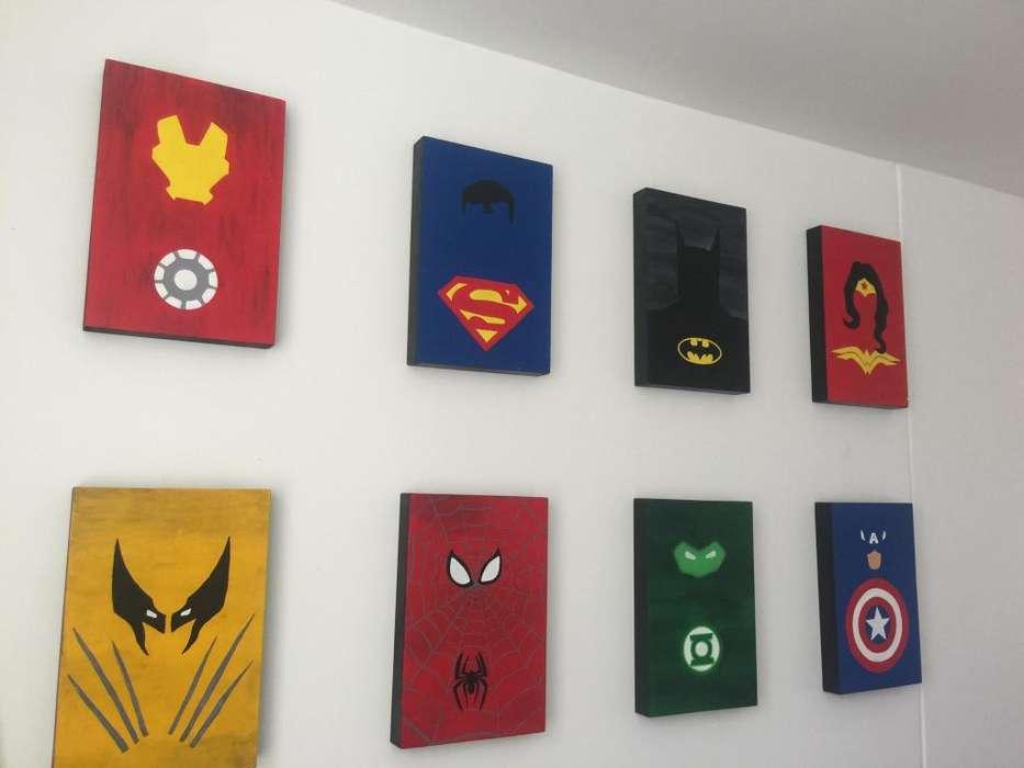 cuadros en retablos de superheroes