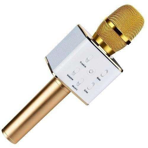 Microfono Q7 <strong>karaoke</strong> Parlante Bluetooth Rosa Dorado Negro Zona Alto Rosario BLASTER PC