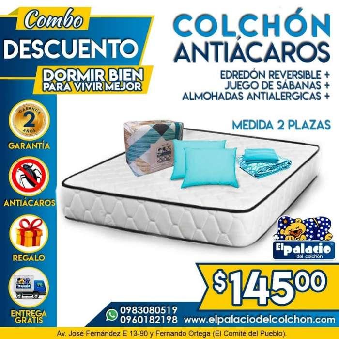 COLCHONES ANTIACAROS 2 Plazas MAS EDREDÓN Mas SABANAS Mas 2 ALMOHADAS Mas ENTREGA ((*Llame EL PALACIO DEL COLCHÓN*))