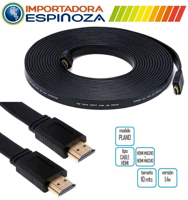 Cable Hdmi 10 Metros V1.4 Plano Reforzado 3d Full Hd