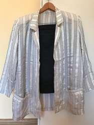Conjunto traje mujer saco y pollera rayas talle L
